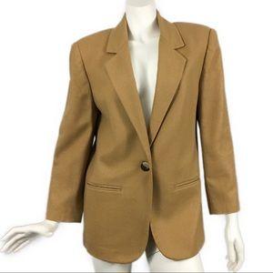 VTG 90's Tan Wool Blazer Boyfriend 8 Petite